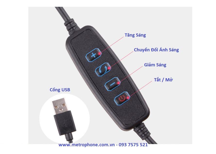 Đèn LED Tròn 128 Bóng Hỗ Trợ Chụp Hình LiveStream metrophone.com.vn