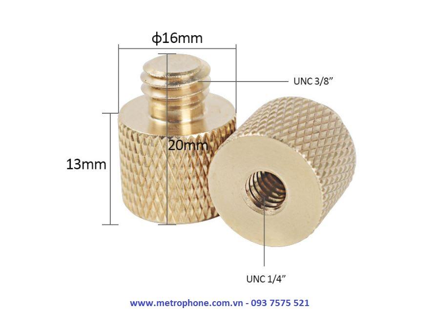 Ốc Chuyển Đầu Ren 1/4 Sang 3/8 Và Ren 3/8 Sang 1/4 metrophone.com.vn