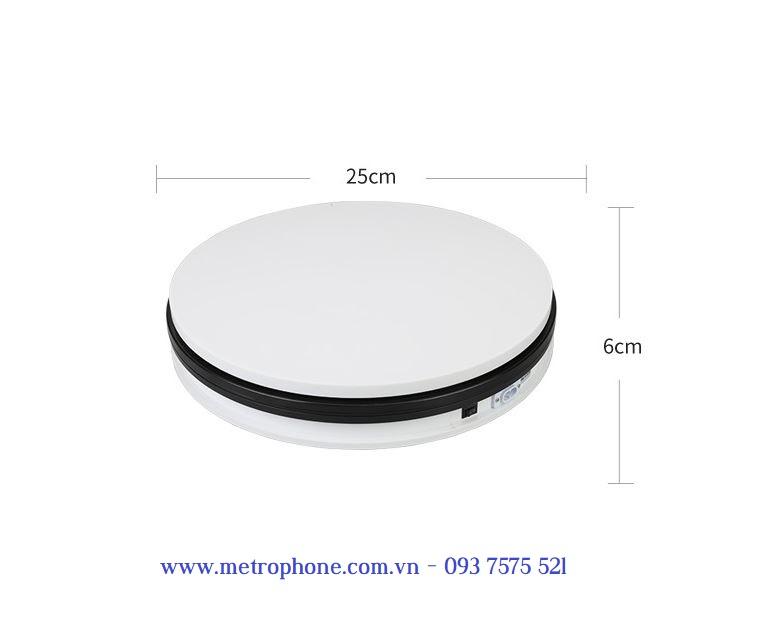 Bàn xoay chụp hình sản phẩm mẫu vừa 25 cm chịu tải 10 kg metrophone.com.vn