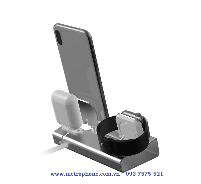 dock cnc cho apple watch và điện thoại metrophone.com.vn