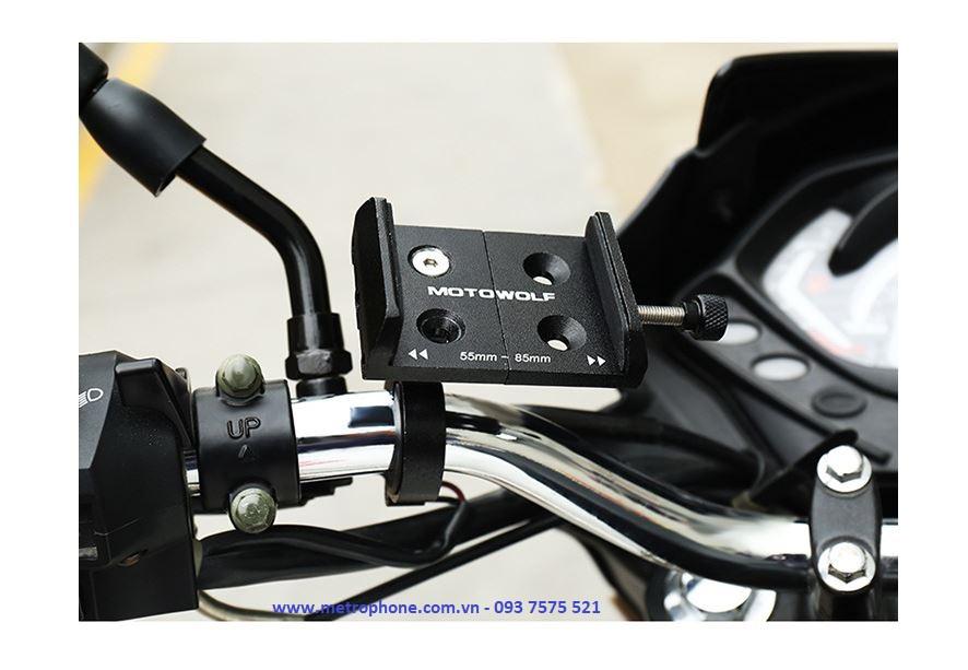 giá đỡ điện thoại gắn gidong hoặc chân kính xe máy motowolf metrophone.com.vn