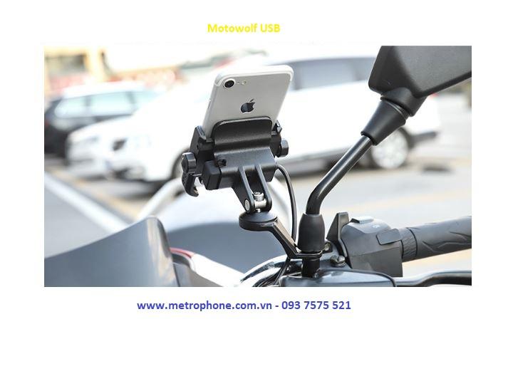 giá đỡ motowolf kèm sạc usb gắn chân kính xe máy metrophone.com.vn