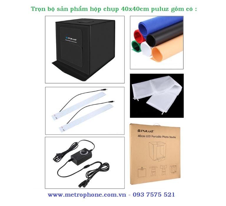Hộp chụp sản phẩm 40x40cm tích hợp đèn led sáng Puluz metrophone.com.vn
