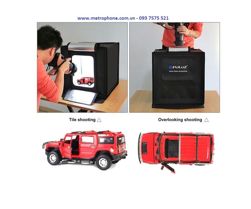 Lồng Chụp Sản Phẩm 60x60cm Tích Hợp Đèn LED Sáng Puluz metrophone.com.vn