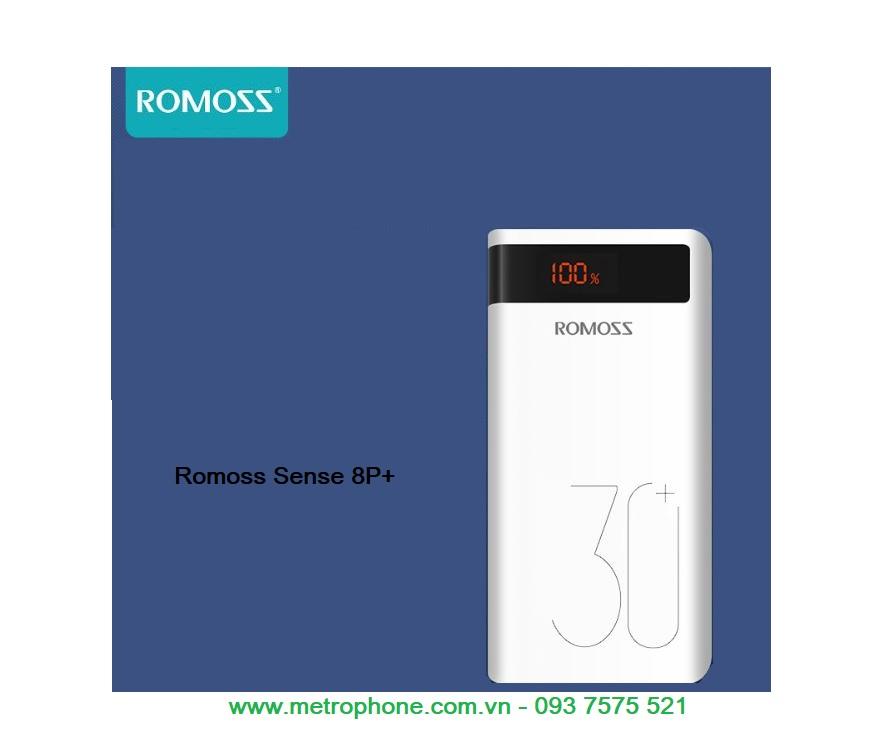 Pin dự phòng Romoss sense 8P+ dung lượng lớn 30000 mAh sạc nhanh QC 3.0 metrophone.com.vn