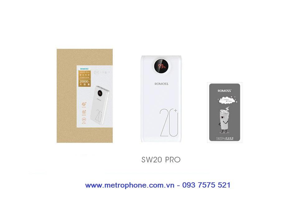 Pin dự phòng Romoss SW20 Pro dung lượng 20000 mAh sạc nhanh 3.0 metrophone.com.vn