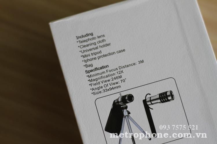 [045] Ống Kính Tele Zoom 12x ( Chụp Xa Khoảng 60m ) - Metrophone.com.vn