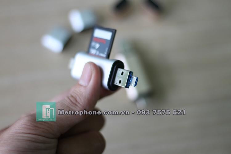 [5927] Đầu Đọc Thẻ Nhớ SD/TF Dành Cho Cổng Type-C / Micro USB / USB - Metrophone.com.vn