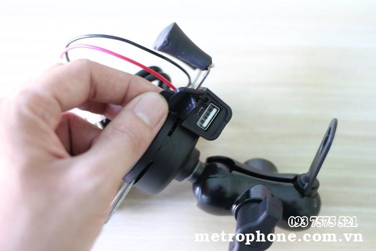 [138] Giá Đỡ Điện Thoại Gắn Chân Kính Tích Hợp Cổng Sạc - Metrophone.com.vn