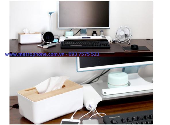 [5915] Kệ Để Màn Hình Desktops Tích Hợp 4 Cổng Sạc USB - Metrophone.com.vn