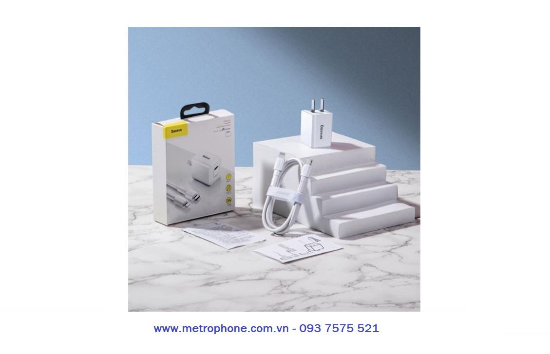bộ sạc cáp 18W PD baseus cho iphone metrophone.com.vn