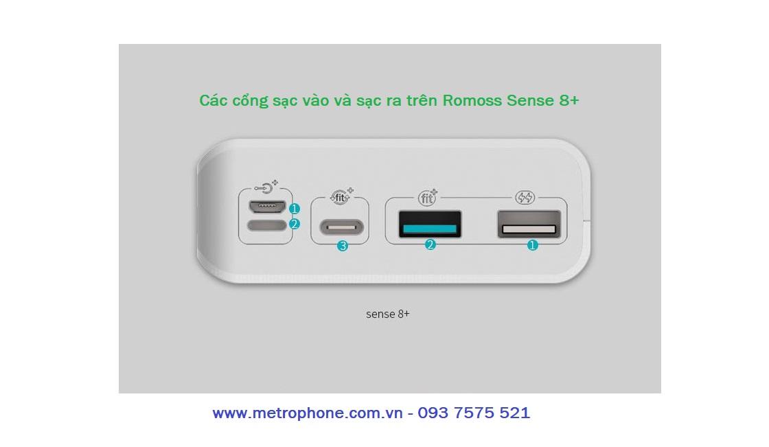 Pin dự phòng Romoss Sense 8+ dung lượng lớn 30000 mAh sạc nhanh QC 3.0