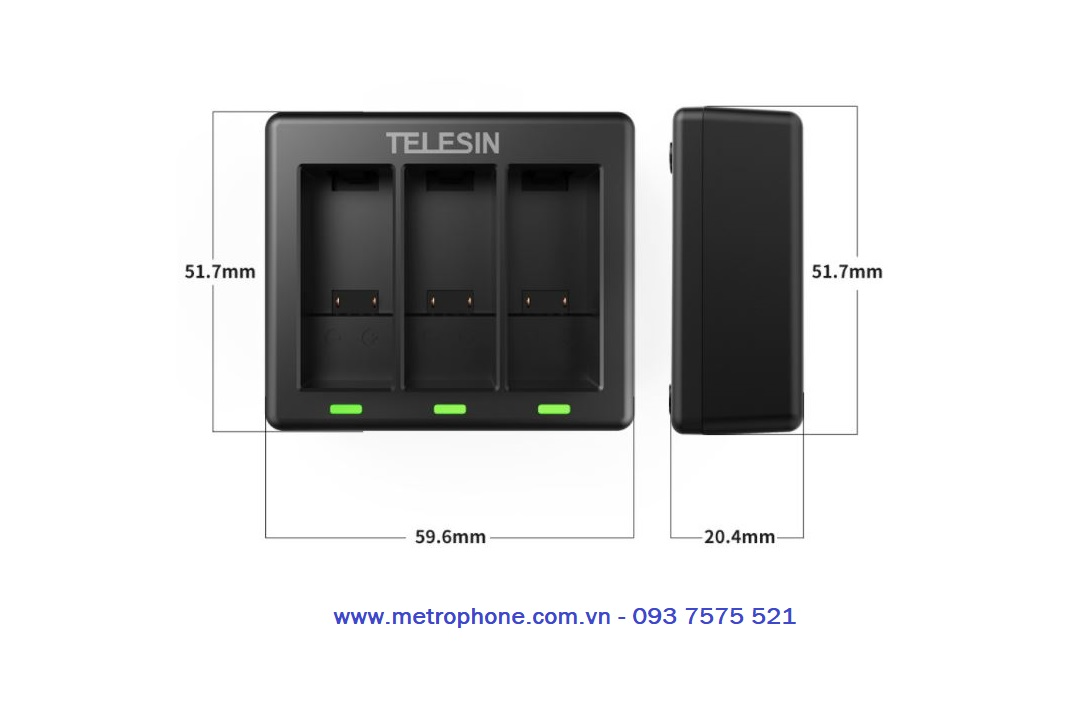 Dock sạc pin cho gopro 9 Telesin chính hãng